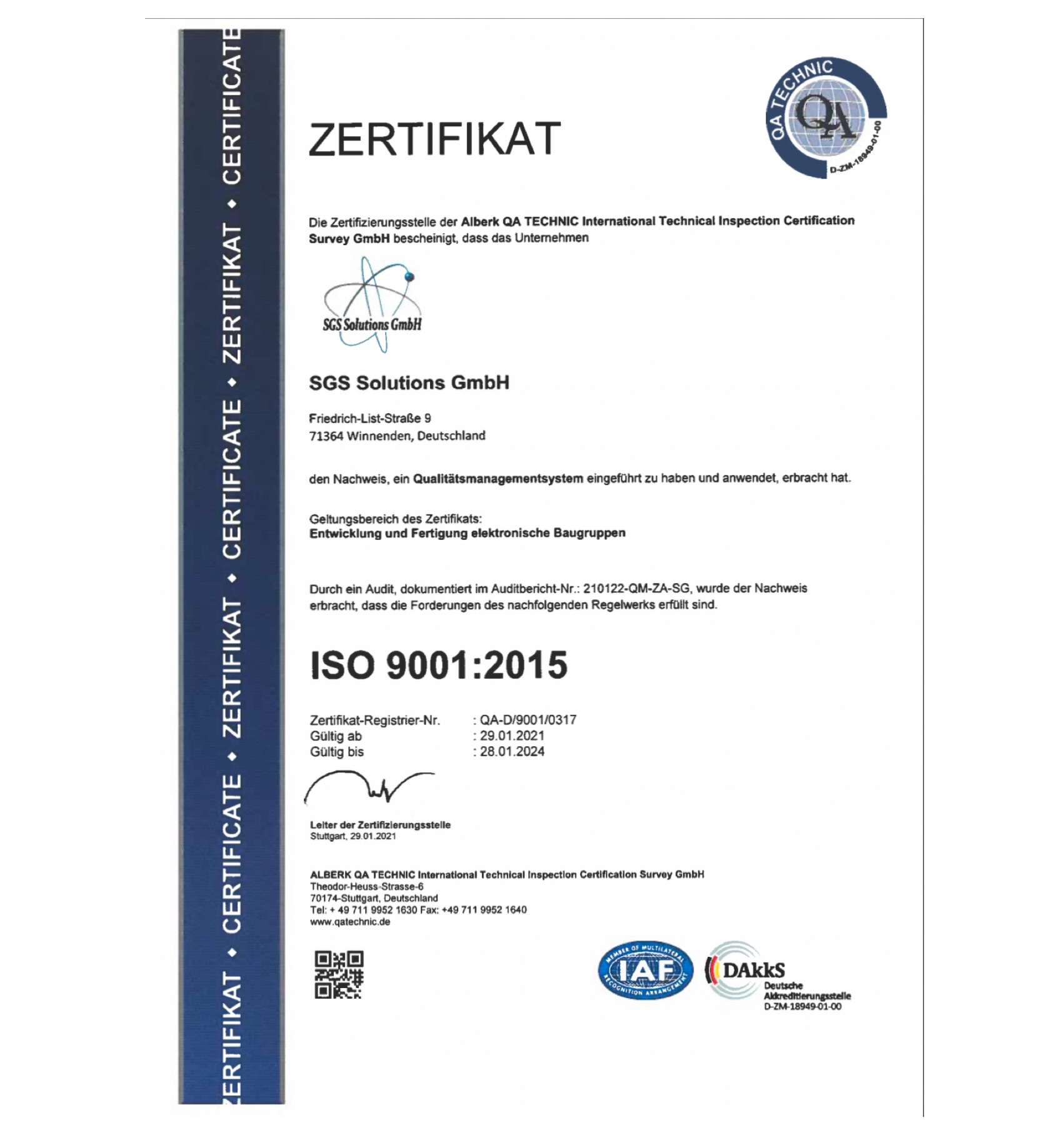 SGS Solutions 9001